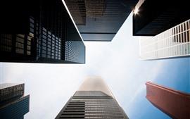 Городские небоскребы, с видом снизу, небо