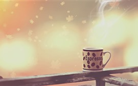 Preview wallpaper Cup, steam, fence, leaves, creative design