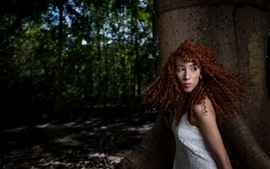 Curly hair girl, forest