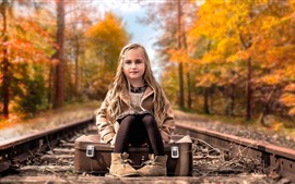 Preview wallpaper Cute blonde little girl, glasses, suitcase, railroad