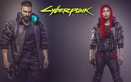 Preview wallpaper Cyberpunk 2077, man and girl