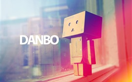 Preview wallpaper Danbo, windowsill, rainbow colors, hazy