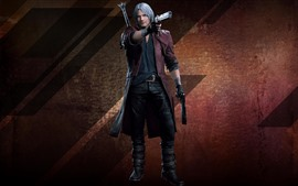 Preview wallpaper Devil May Cry 5, white hair man, guns