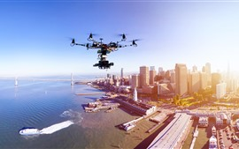 Drone, city, top view, skyscrapers, sea, bridge