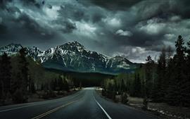 Сумерки, горы, деревья, дорога, облака