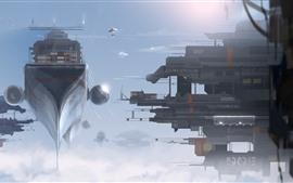 Fantasia, futurista, nave espacial, doca