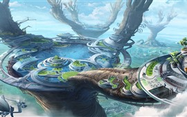 Mundo de fantasia, estilo futuro, cidade, lago, design criativo