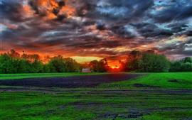 Preview wallpaper Farmland, fields, trees, hut, clouds, sunset