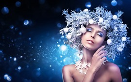 Preview wallpaper Fashion girl, decoration, stars, art photography