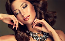Preview wallpaper Fashion girl, hairstyle, makeup, necklace