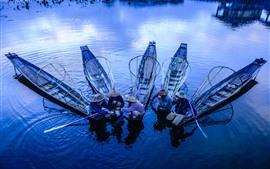 Preview wallpaper Fisherman, boats, river, morning