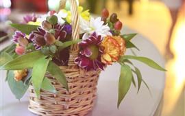 Цветы, букет, корзина, дымка