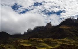 Névoa, nuvens, montanhas, paisagem da natureza, Tibet, China