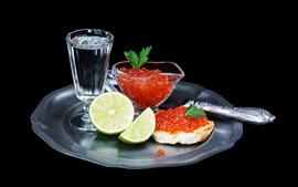 Preview wallpaper Food, caviar, lemon, bread, glass cup, water, knife