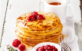 Food, pancakes, honey, raspberry