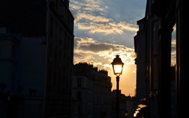 Preview wallpaper France, Paris, city, street lamp, dusk