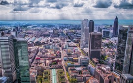 Frankfurt, Germany, city, skyscrapers, sea, clouds
