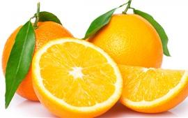 Fresh oranges, fruit, white background