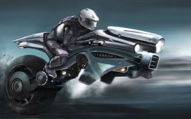 Preview wallpaper Futuristic motorcycle, art picture