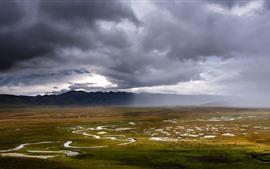 Ганьнань Аванканг водно-болотные угодья, горы, облака, красивый пейзаж природы, Китай