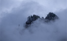 Ганнан, гора, туман, облака, природа, Китай