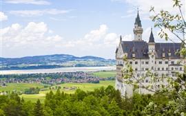 Alemanha, bavaria, neuschwanstein, árvores, cidade, rio