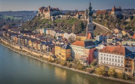 Alemania, Bayern, Salzach River, Burghausen, City