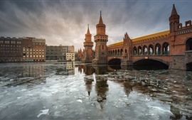 Preview wallpaper Germany, Berlin, river, bridge, city, ice, winter