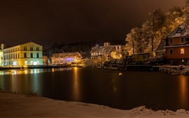 Preview wallpaper Germany, Cunewalde, winter, snow, river, trees, houses, lights, night