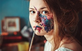 Preview wallpaper Girl, face, painting
