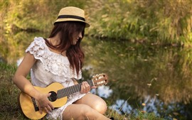 預覽桌布 女孩,小吉他,夏天