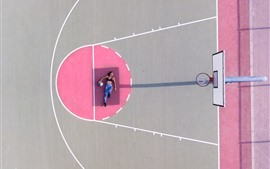 Preview wallpaper Girl, pose, playground, basketball, shadow