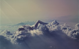 Preview wallpaper Girl sleeping, clouds, heels, mountains, creative picture