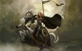 Preview wallpaper Girl, warrior, horse, art picture