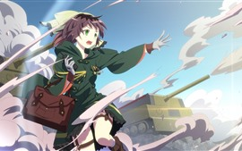 Preview wallpaper Green eyes anime girl, tank, war