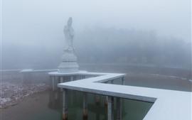 Guanyin, estátua, nevoeiro