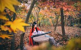 Han dinastia menina, jogar guzheng, árvores, outono