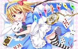 Chica anime feliz y conejo