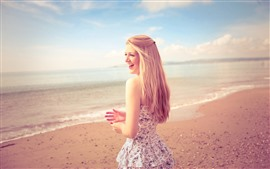 Preview wallpaper Happy blonde girl, skirt, beach, sea, summer