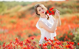 Preview wallpaper Happy girl, summer, red poppies