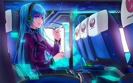 Preview wallpaper Hatsune Miku, blue hair anime girl, tea, plane