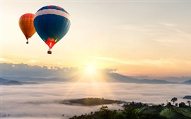 Hot air balloon, sunrise, sky, fog, morning