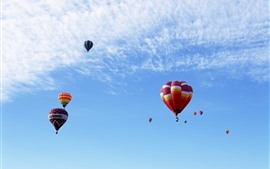 Preview wallpaper Hot air balloons, colorful, flight, blue sky, clouds