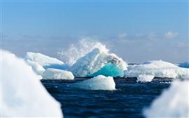 Лед, айсберг, море, плеск воды
