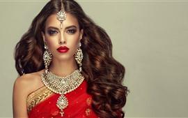 미리보기 배경 화면 인도 소녀, 패션, 헤어 스타일, 목걸이, 귀걸이