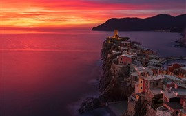 Italy, Cinque Terre, Ligurian sea, Vernazza, sea, sunset, red sky