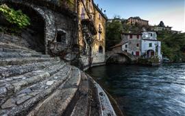 Itália, escada, rio, ponte, aldeia