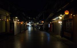 Itsukushima, Japão, noite da cidade, rua, lanternas