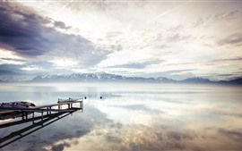 Lake, dock, mountains, clouds