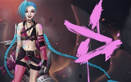 League of Legends, Jinx, chica de cabello azul
